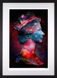 Space Queen - Small Size - Black Background - Black - Framed