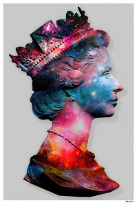 Space Queen - Small Size - Grey Background - Mounted