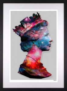 Space Queen - Small Size - Grey Background - Black - Framed