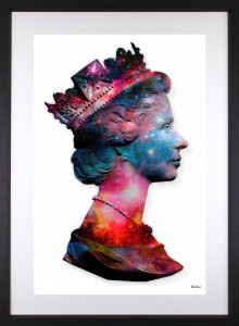 Space Queen - Small Size - White Background - Black - Framed
