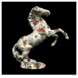 stallion - black background - large - mounted