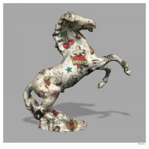 stallion - grey background - small - mounted