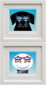 Sun Sea And Sunglasses I & II - Set Of 2 - White - Framed