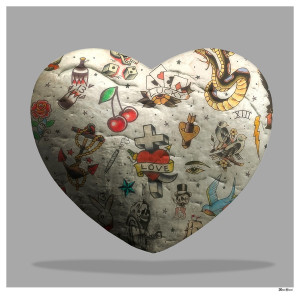 Tattoo Heart (Grey Background) - Small  - Framed