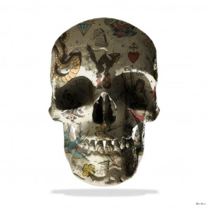 tattoo skull (white background) - large  - mounted