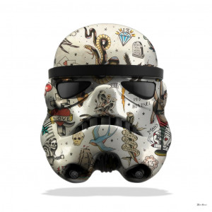 Tattoo Storm Trooper (White Background) - Large - Mounted