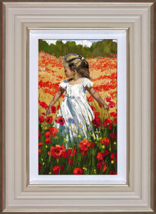 The Butterfly Amongst The Poppies - Cream - Framed