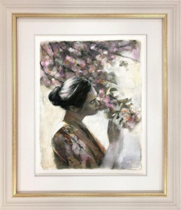 the frailty of hearts and flowers (study) - framed