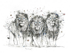 The Three Blue Lions - Mounted