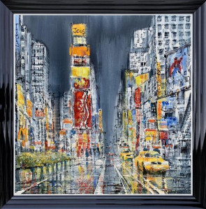 Times Square Rush Hour - Canvas - Black - Framed