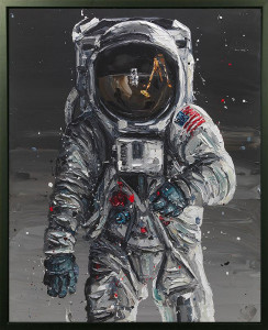 To The Moon - Canvas - Artist Proof Black Framed - Mounted