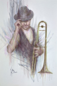 Trombone And Sax Duo - Framed
