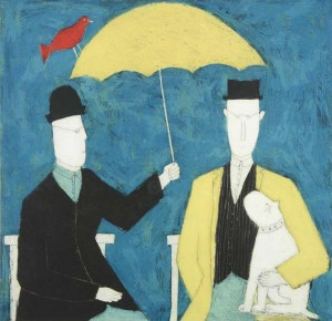 Under The Umbrella - Blue - Print only