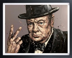 V Is For Victory (Sir WInston Churchill) - Canvas - Framed