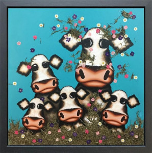 Was It You Little Moo? - Original - Framed - Box Canvas