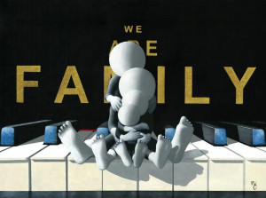 we are family - 3d high gloss  - board with slip