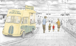 What Do You Like Best, Grandad Or Chips - Sketch - Mounted