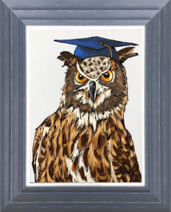 Wise Old Owl - Original - Dark Grey - Framed