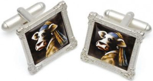 cow with a pearl earing - cufflinks