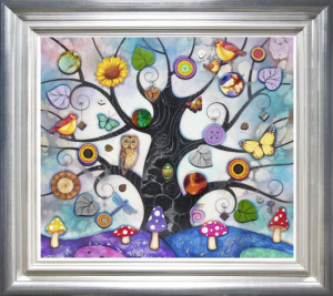 blue tree of charms - framed