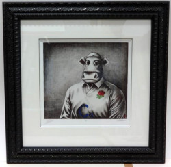 Rugby Bull Sketch - Framed