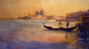 dusk over venice - mounted