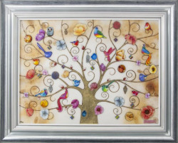 Tree Of Life - Oriental Gold XL Edition - Silver-Blue Framed