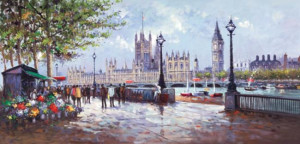 south bank flowers  - box canvas