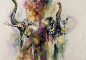 Opaline (Pair of Elephants) - Canvas  - Framed