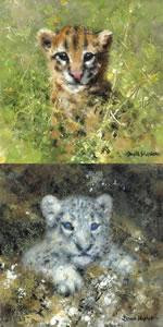 Ocelot & Snow Leopard Cubs - Mini Collection - Mounted