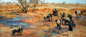african waterhole - print only