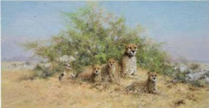 cheetah family - in the serengeti - print