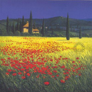 tuscan poppyfield - small - mounted