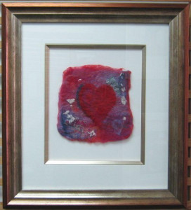 Heartfelt I (felt art) - Framed