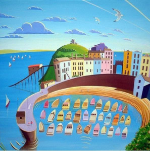 tenby harbour - box canvas