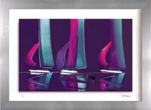 moonlit sails iii - framed
