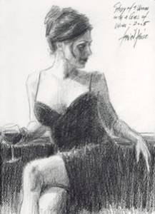 Study For Woman With Wine Glass - (Paper) - Mounted