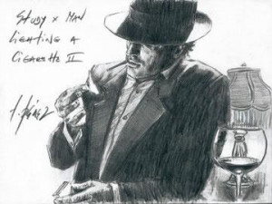 Study For Man Lighting A Cigarette II - Mounted
