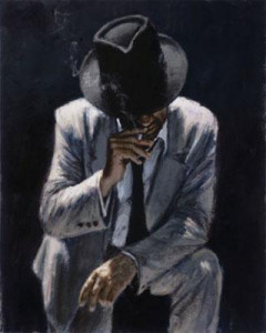 Smoking Under The Light With White Suit - Board Only