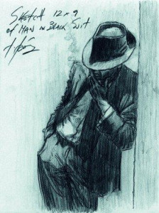 Study For Man In Black Suit - Mounted
