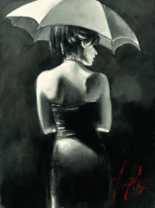 study for woman with white umbrella - mounted