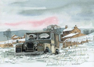 no through road, in snow - landrover - print