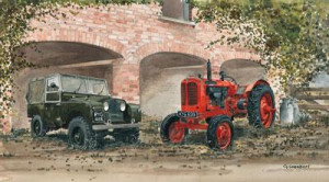 working together - landrover & tractor - print