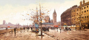 afternoon on the embankment - framed box canvas