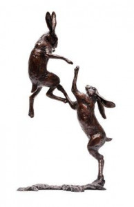 the boxing hares - bronze