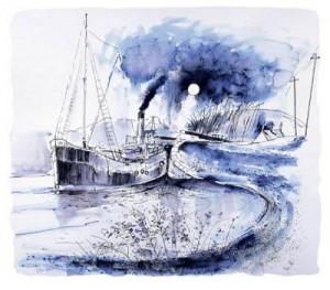 vic 32 crinal canal (pen & ink) - mounted