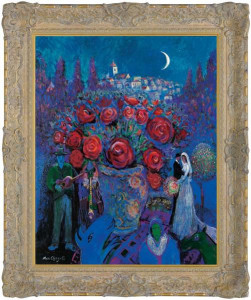 Wedding Flowers In The Style Of Marc Chagall - Framed