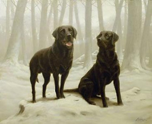 winter friends ii - black labs - print only