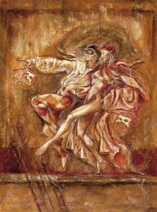 two dancers - on paper - mounted