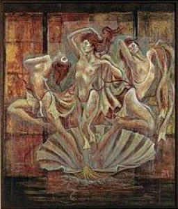 venus & her maidens - canvas with slip